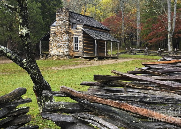Log Greeting Card featuring the photograph John Oliver Cabin - D000352 by Daniel Dempster
