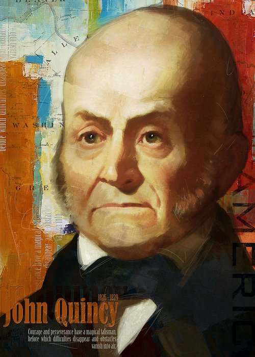 John Quincy Greeting Card featuring the painting John Quincy Adams by Corporate Art Task Force