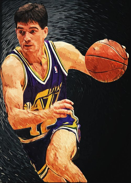 John Stockton Greeting Card featuring the digital art John Stockton by Taylan Apukovska