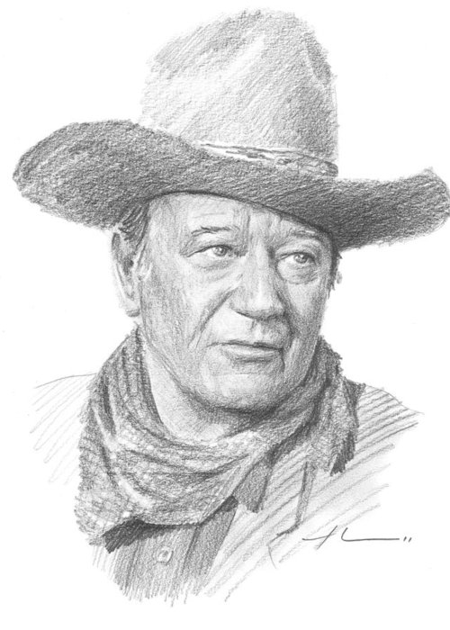 Www.miketheuer.com Greeting Card featuring the drawing John Wayne Pencil Portrait by Mike Theuer