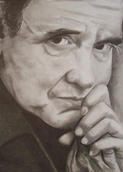 Johnny Cash Greeting Card featuring the drawing Johnny by Amber Stanford