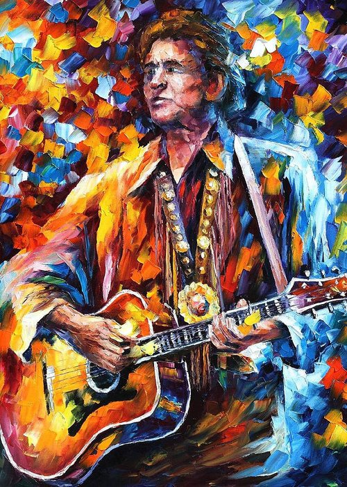 Art Gallery Greeting Card featuring the painting Johnny Cash - Palette Knife Oil Painting On Canvas By Leonid Afremov by Leonid Afremov