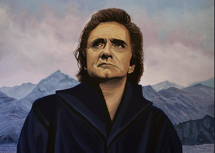 Johnny Cash Greeting Card featuring the painting Johnny Cash Painting by Paul Meijering