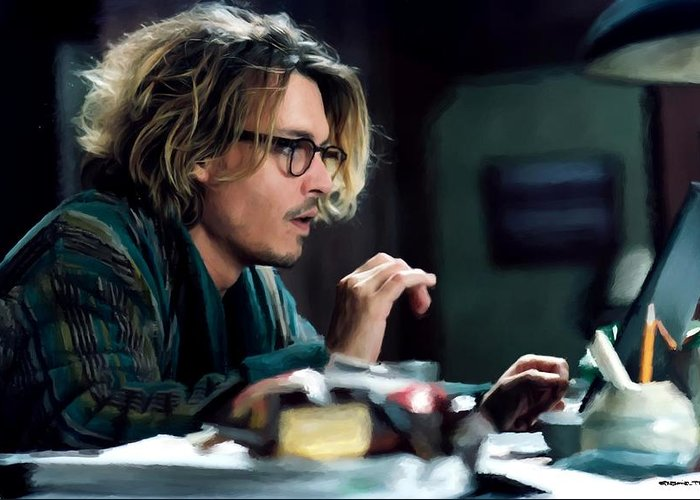 David Koepp Films Greeting Card featuring the digital art Johnny Depp as Mort Rainey @ Secret Window by Gabriel T Toro