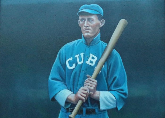 Chicago Greeting Card featuring the painting Johnny Evers by Mark Haley