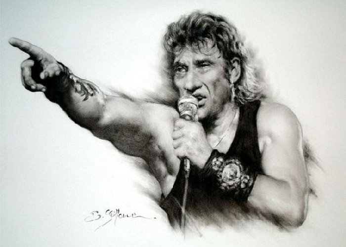 Johnny Halliday Greeting Card featuring the drawing Johnny Halliday by Guillaume Bruno