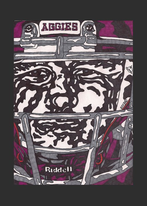 American Football Greeting Card featuring the drawing Johnny Manziel 16 by Jeremiah Colley