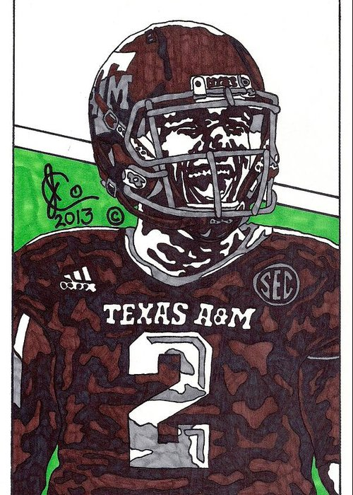 American Football Greeting Card featuring the drawing Johnny Manziel 6 by Jeremiah Colley