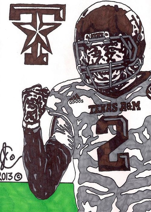 American Football Greeting Card featuring the drawing Johnny Manziel 9 by Jeremiah Colley