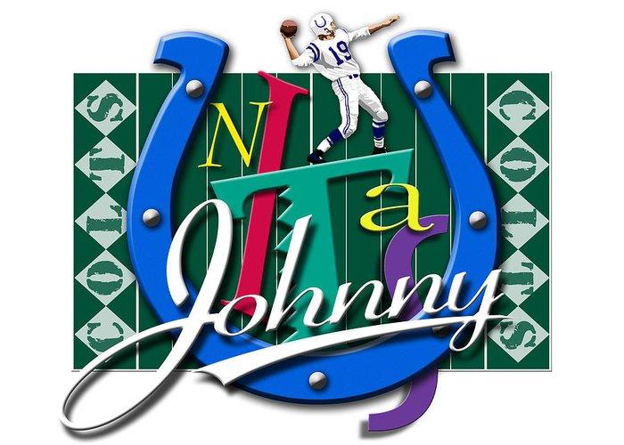 Johnny Unitas Greeting Card featuring the digital art Johnny Unitas Baltimore Colts by Ron Regalado