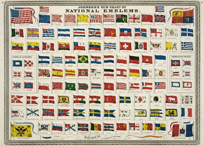 Countries Greeting Card featuring the digital art Johnsons New Chart Of National Emblems by Georgia Fowler