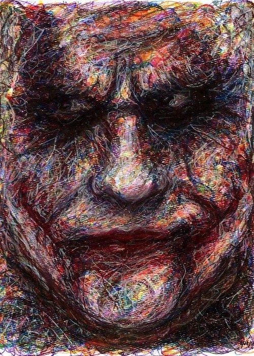 Joker Greeting Card featuring the drawing Joker - Face I by Rachel Scott