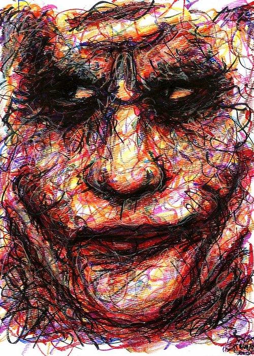 Joker Greeting Card featuring the drawing Joker - Face II by Rachel Scott