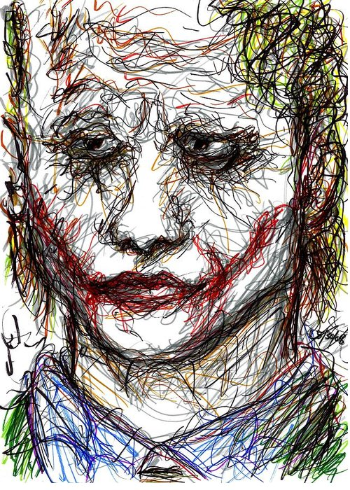 Joker Greeting Card featuring the drawing Joker - Interrogation by Rachel Scott