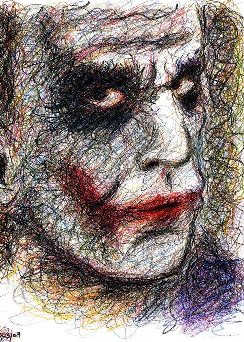 Joker Greeting Card featuring the drawing Joker - Pout by Rachel Scott