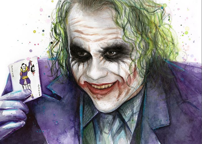 Halloween Joker Card.Joker Watercolor Portrait Greeting Card