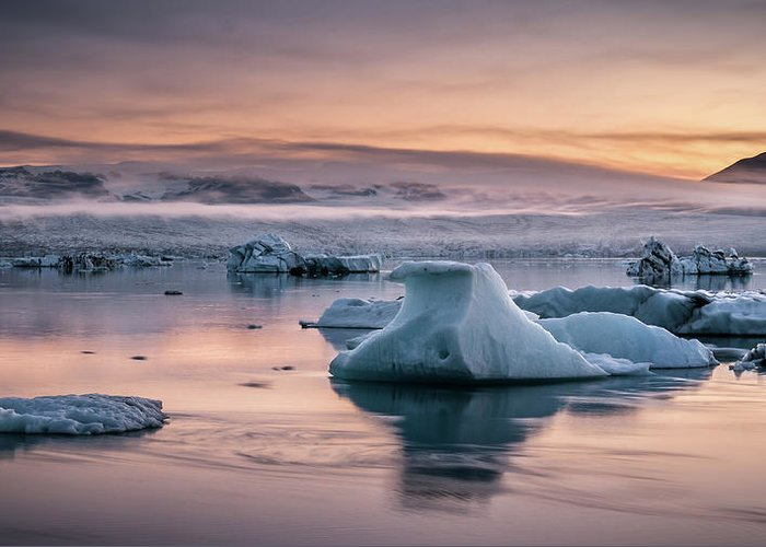 Scenics Greeting Card featuring the photograph Jokulsarlon Sunrise by Andreas Wonisch