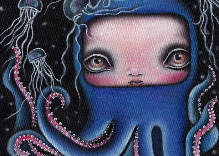 Octopus Greeting Card featuring the painting Jolenta by Abril Andrade Griffith