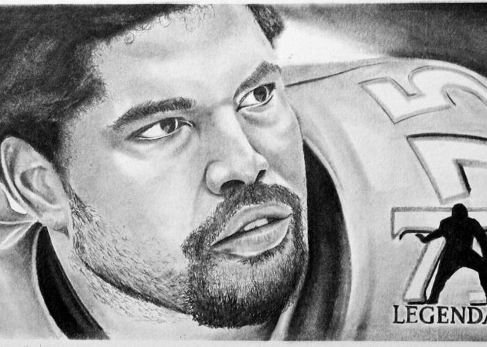 Nfl Greeting Card featuring the drawing Jonathan Ogden by Don Medina