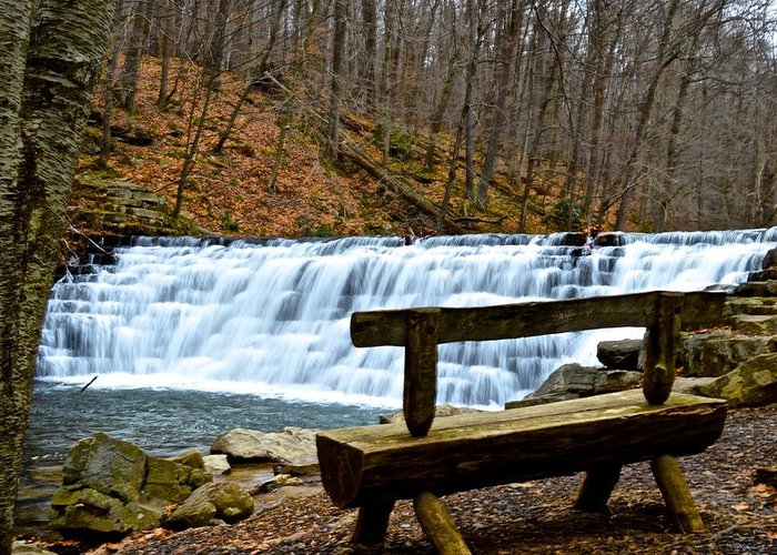 Pennsylvania Greeting Card featuring the photograph Jones Mill Run Dam Relaxing View by Jake Donaldson