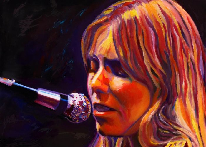 Singer-songwriter Greeting Card featuring the painting Joni Mitchell..legend by Vel Verrept