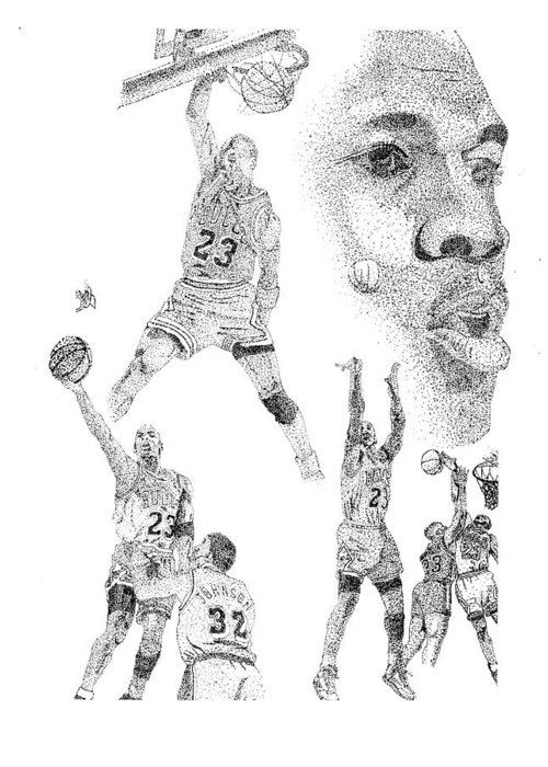 Michael Jordan Black And White Ink Stippling Greeting Card featuring the drawing Jordan At His Best by Joe Rozek