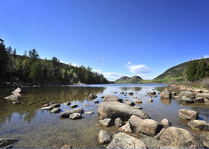 Jordan Pond Greeting Card featuring the photograph Jordan Pond by Terry DeLuco
