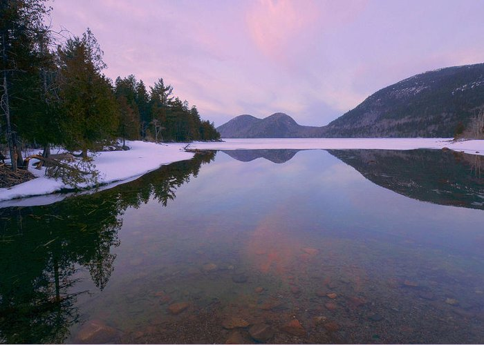 Jordan Pond Greeting Card featuring the photograph Jordan Pond Winter Reflections by Stephen Vecchiotti