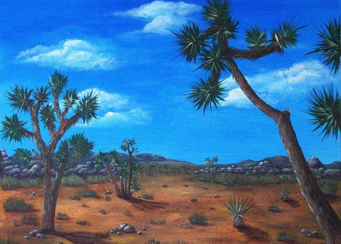 Malakhova Greeting Card featuring the painting Joshua Tree Desert by Anastasiya Malakhova