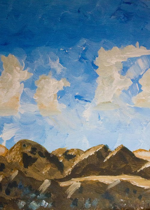 Jtnp Greeting Card featuring the painting Joshua Tree National Park And Summer Clouds by Carolina Liechtenstein