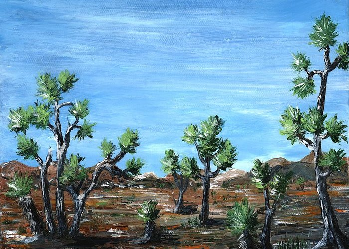 Malakhova Greeting Card featuring the painting Joshua Trees by Anastasiya Malakhova