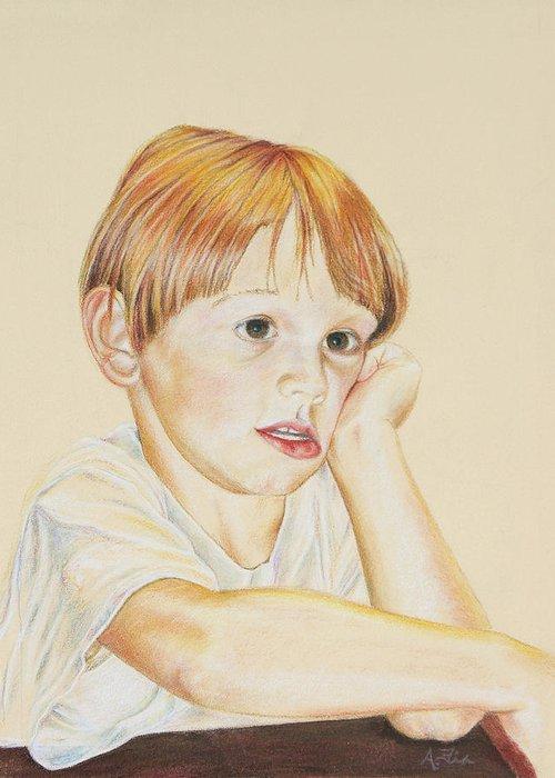 Boy Portrait Greeting Card featuring the drawing Joshy by Arthur Fix