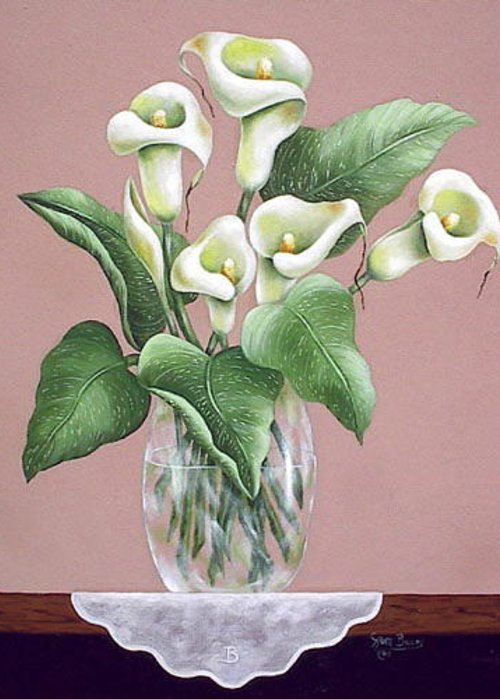 Oil Greeting Card featuring the painting Josies Lilies by Ruth Bares
