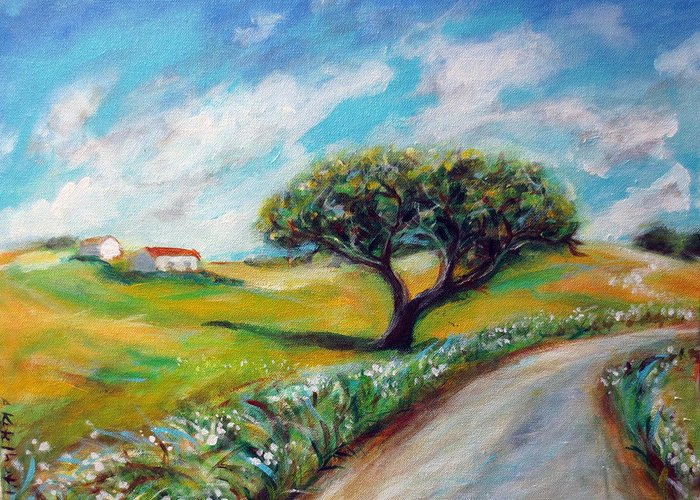 Country Greeting Card featuring the painting Journey by Angie Ketelhut
