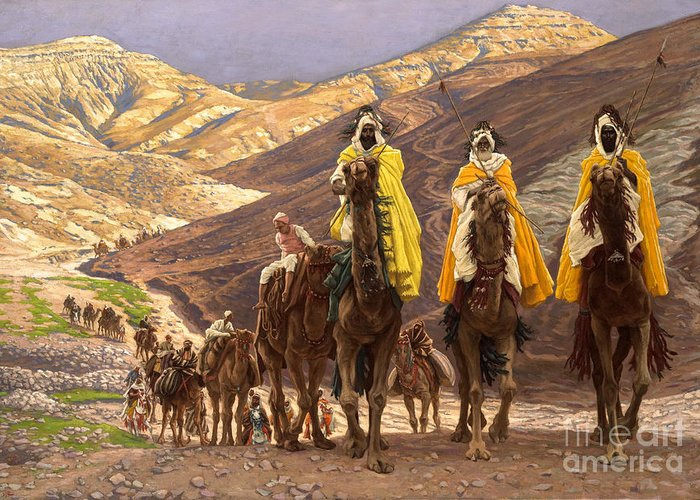 Christmas Greeting Card featuring the painting Journey of the Magi by Tissot