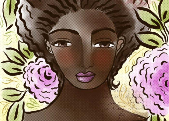Digital Greeting Card featuring the digital art Joy In My Flower Garden by Elaine Jackson