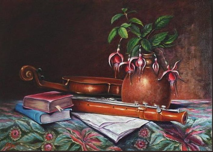 Violin Greeting Card featuring the painting Joyful Pastimes by Mary Ann Fox