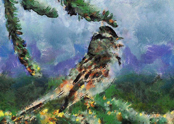 Bird Greeting Card featuring the digital art Joyfull Bird by Yury Malkov