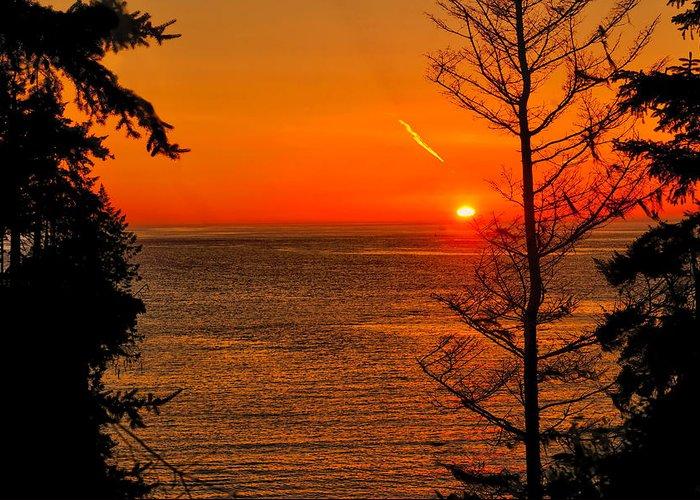 Sunset Greeting Card featuring the photograph Juan De Fuca Sunset by Greg Norrell