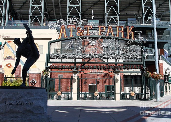 Sport Greeting Card featuring the photograph Juan Marichal At San Francisco Att Park . 7d7640 by Wingsdomain Art and Photography