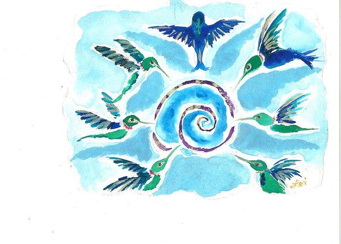 Spiritual Greeting Card featuring the painting Juanita Jean by Lori Sheridan