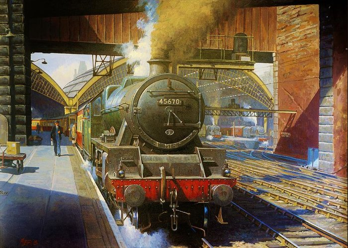 Train Greeting Card featuring the painting Jubilee 4.6.0 At Liverpool Lime Street. by Mike Jeffries