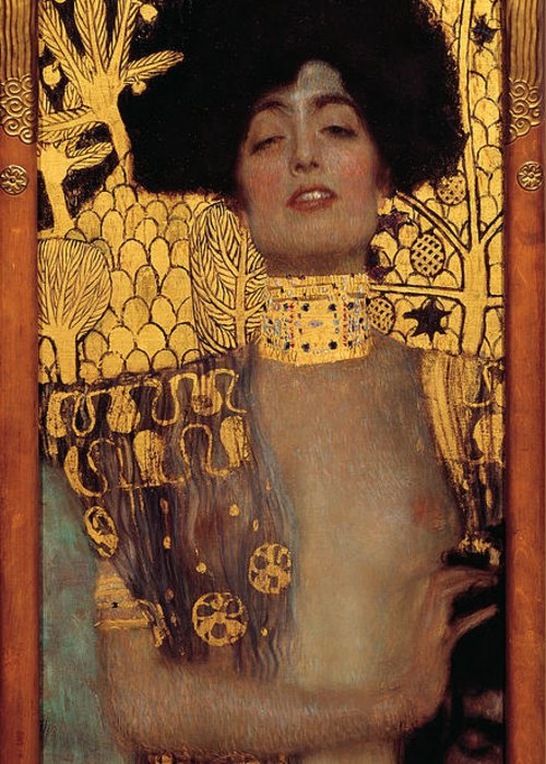 Gustav Klimt Greeting Card featuring the painting Judith And The Head Of Holofernes - Judith I by Masterpieces Of Art Gallery