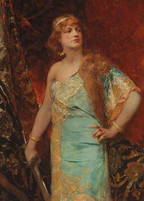 Judith Greeting Card featuring the painting Judith by Jean Joseph Benjamin Constant