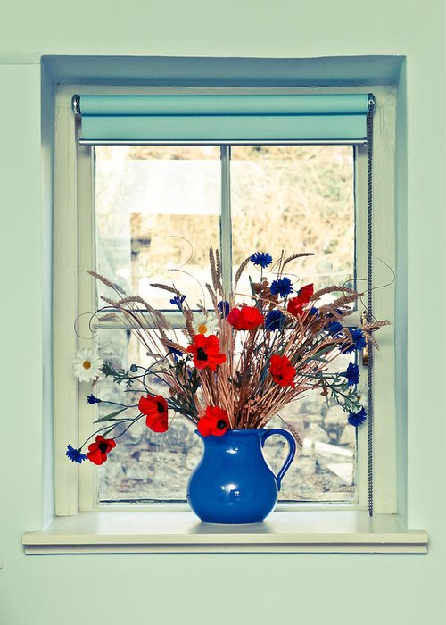 Beauty Greeting Card featuring the photograph Jug Of Flowers by Tom Gowanlock