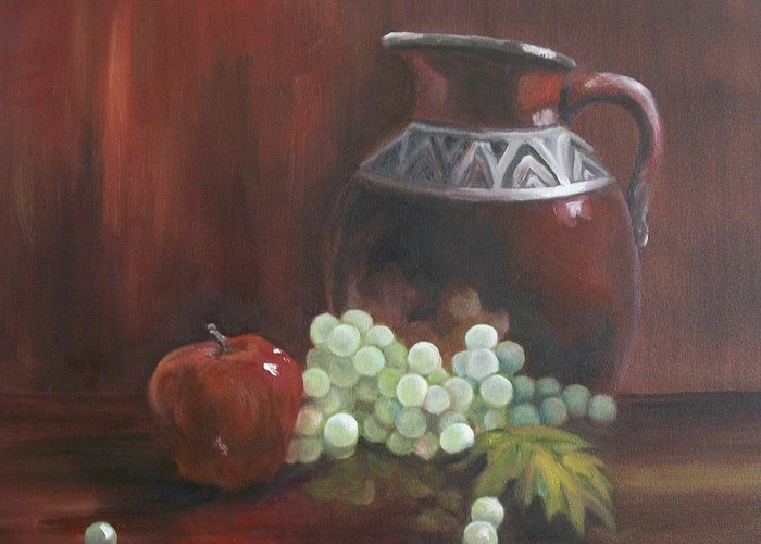 Red Greeting Card featuring the painting Jug With Frosty Grapes by Ellen Ebert