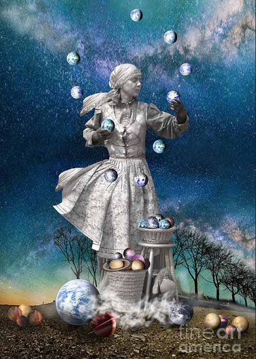Buildings Greeting Card featuring the digital art Juggling The Worls by Angelika Drake