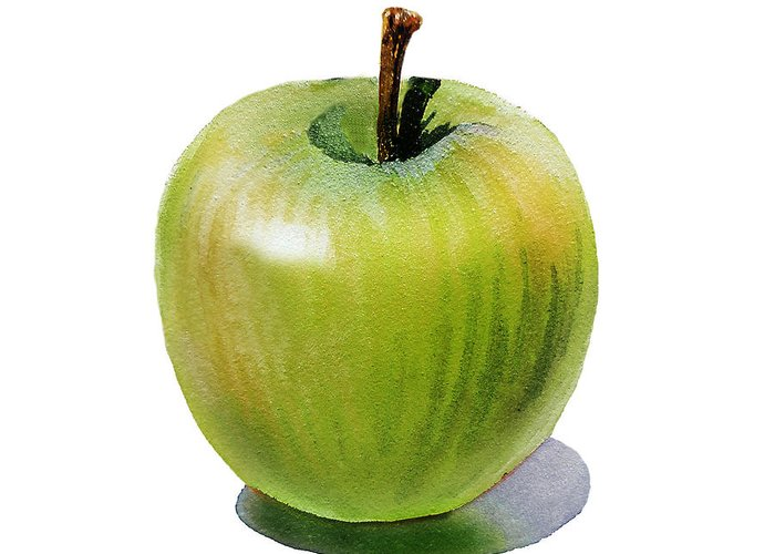 Apple Greeting Card featuring the painting Juicy Green Apple by Irina Sztukowski