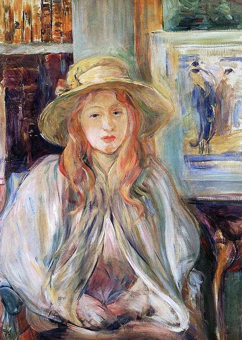 Female; Young Girl; Half Length; Seated; Impressionist; Interior; Domestic; Bookshelf; Shawl Greeting Card featuring the painting Julie Manet With A Straw Hat by Berthe Morisot