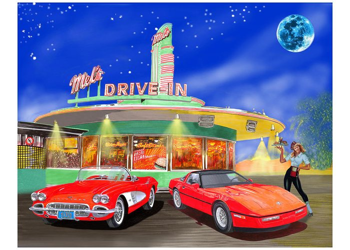 Mels Drive-in Mixed Media Greeting Cards